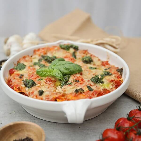 Divine three cheese spinach lasagne