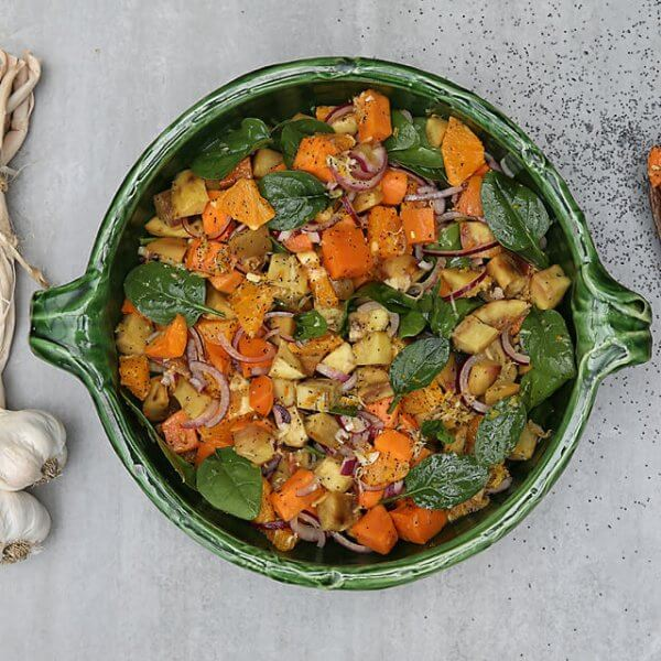 Maple roasted kumara & orange salad w/ citrus ginger vinaigrette